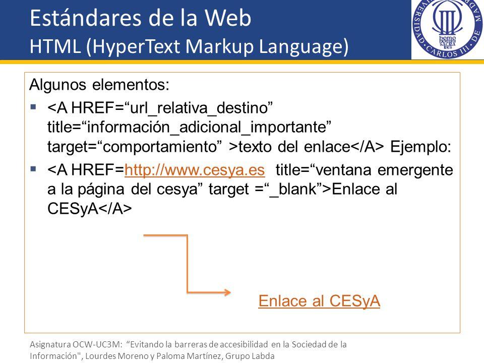 Estándares de la Web HTML (HyperText Markup Language) Algunos elementos: texto del enlace Ejemplo: Enlace al CESyA http://www.cesya.es Enlace al CESyA