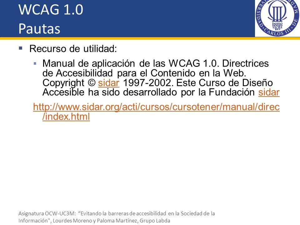 WCAG 1.0 Pautas Recurso de utilidad: Manual de aplicación de las WCAG 1.0. Directrices de Accesibilidad para el Contenido en la Web. Copyright © sidar
