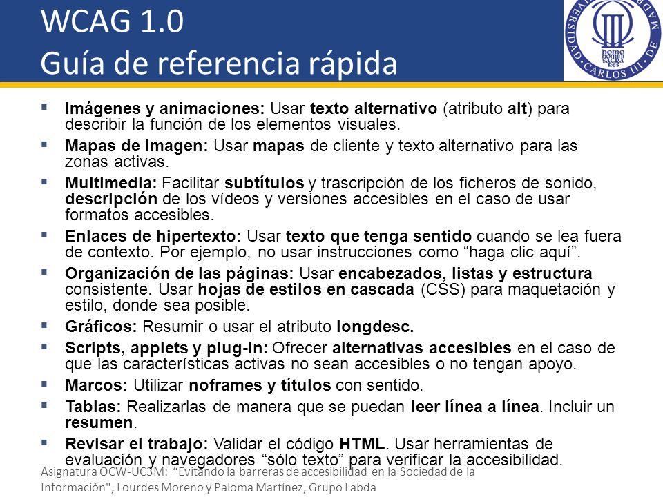 WCAG 1.0 Guía de referencia rápida Imágenes y animaciones: Usar texto alternativo (atributo alt) para describir la función de los elementos visuales.