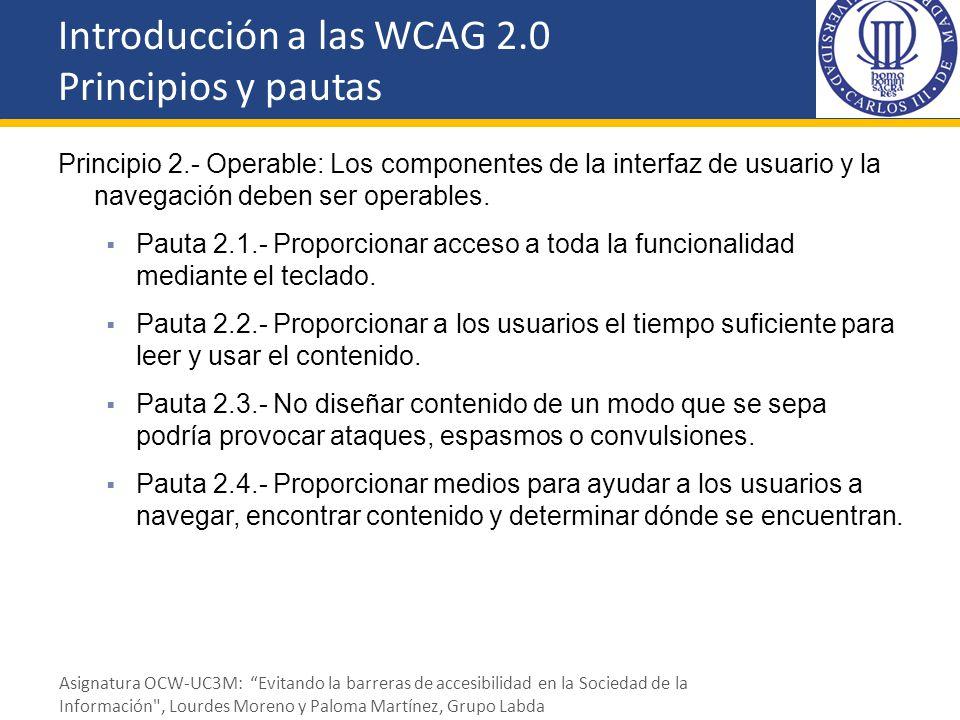 Principio 2.- Operable: Los componentes de la interfaz de usuario y la navegación deben ser operables. Pauta 2.1.- Proporcionar acceso a toda la funci
