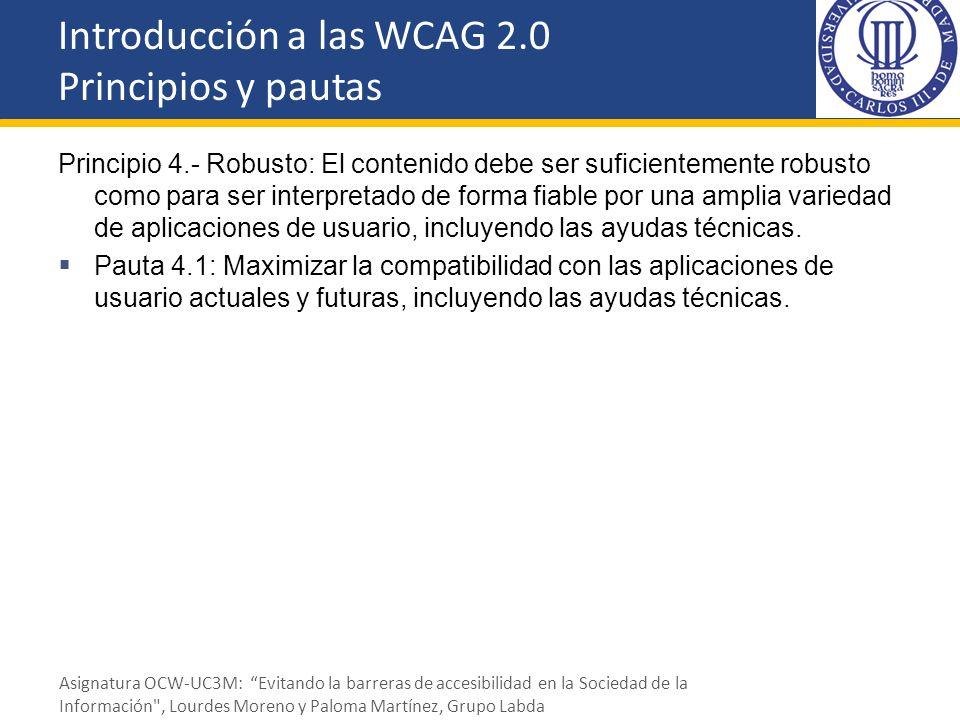 Principio 4.- Robusto: El contenido debe ser suficientemente robusto como para ser interpretado de forma fiable por una amplia variedad de aplicacione