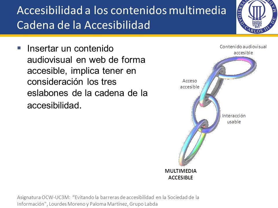 Insertar un contenido audiovisual en web de forma accesible, implica tener en consideración los tres eslabones de la cadena de la accesibilidad. Acces