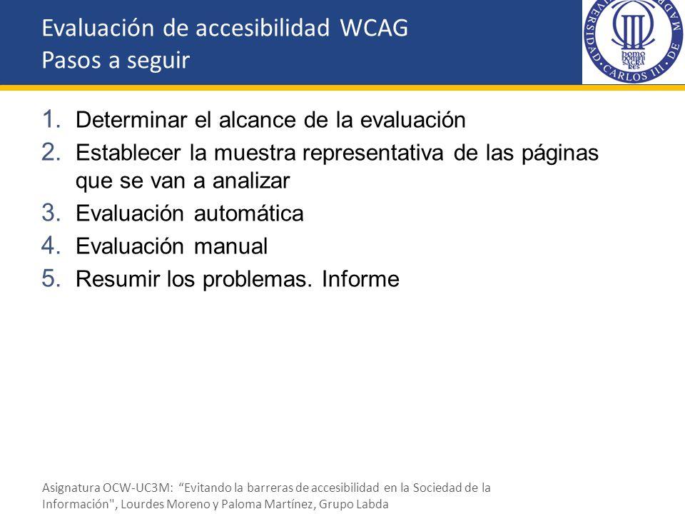 1. Determinar el alcance de la evaluación 2. Establecer la muestra representativa de las páginas que se van a analizar 3. Evaluación automática 4. Eva