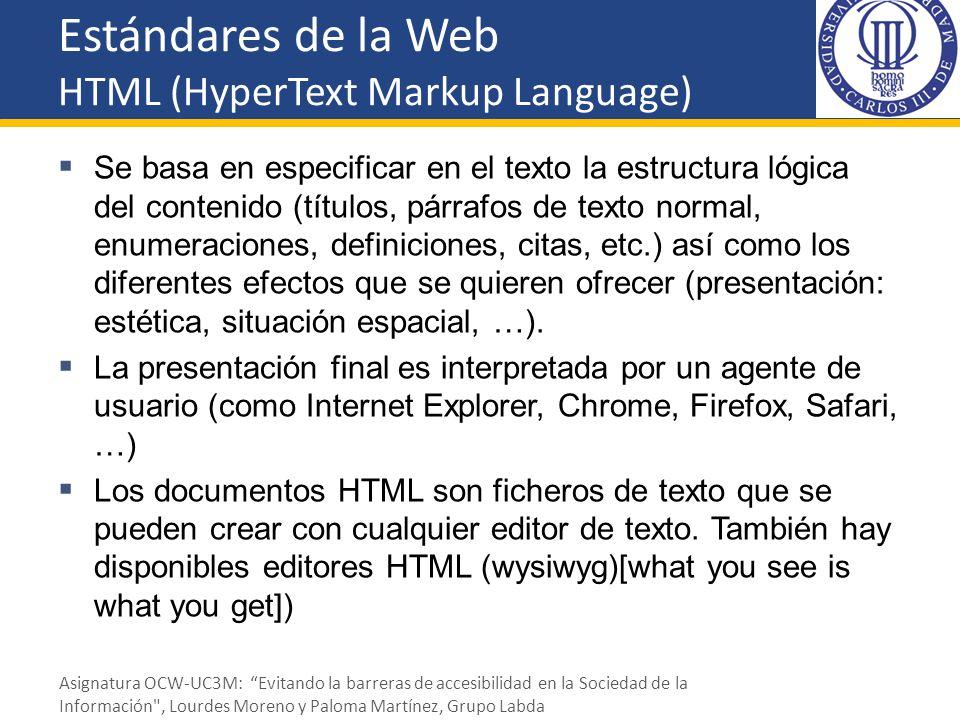 Estándares de la Web HTML (HyperText Markup Language) Un documento está formado por elementos: Títulos, párrafos, listas, tablas,...