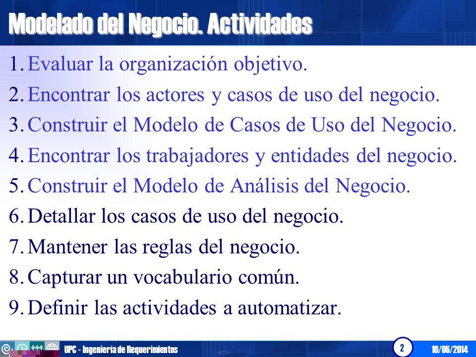 10/06/2014UPC - Ingeniería de Requerimientos 3 Modelado del Negocio.