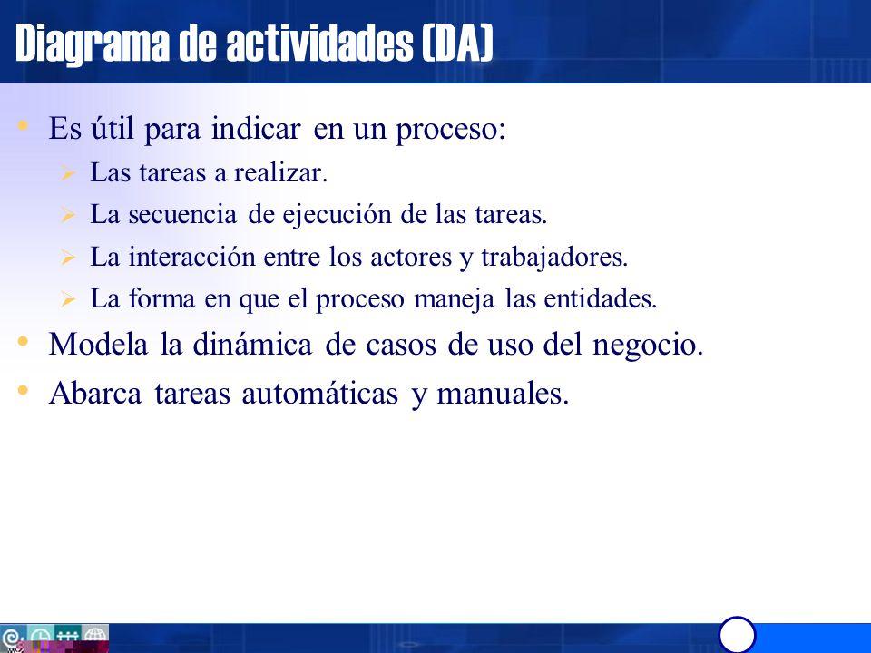 Diagrama de actividades (DA) El Diagrama de Actividades está compuesto por los elementos siguientes.