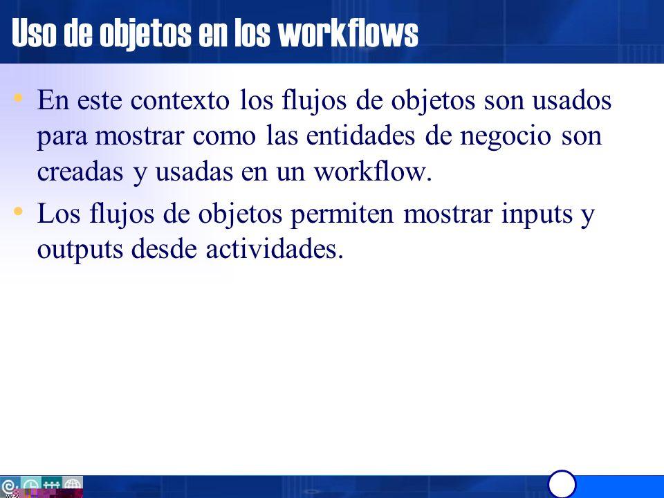 Uso de objetos Consideraciones: Un objeto puede ser el output de una actividad y el input de muchas otras.