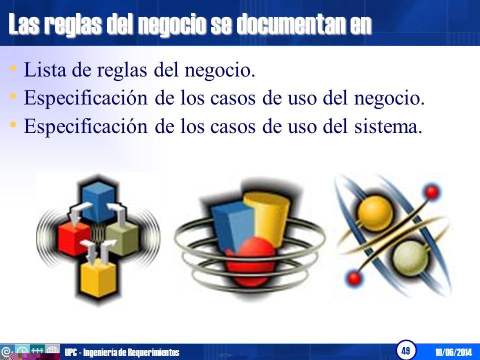 10/06/2014UPC - Ingeniería de Requerimientos 50 Lista de reglas del negocio RN01: Descripción de la regla del negocio 01.