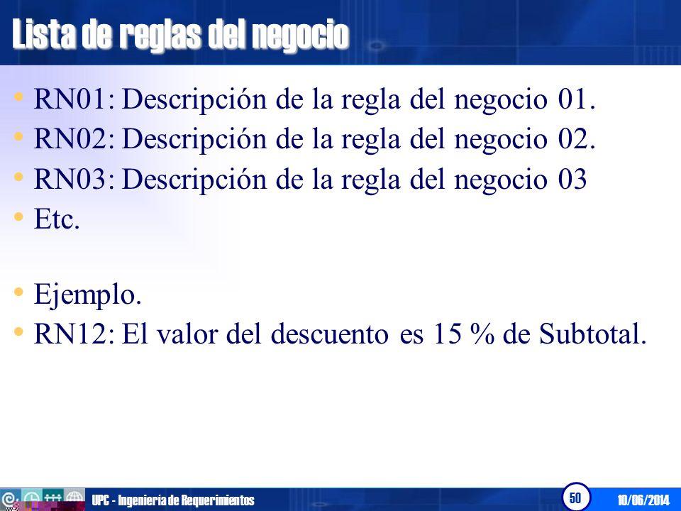 10/06/2014UPC - Ingeniería de Requerimientos 51 Especificación de los casos de uso del negocio Flujo Básico.