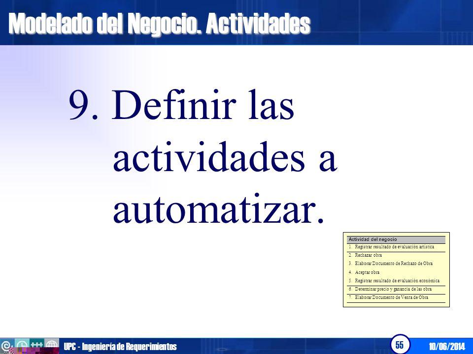 10/06/2014UPC - Ingeniería de Requerimientos 56 El objetivo de esta actividad es Determinar el nivel de automatización del negocio y obtener, de forma preliminar los requerimientos del sistema.