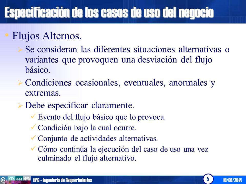 10/06/2014UPC - Ingeniería de Requerimientos 10 Especificación de los casos de uso del negocio Precondiciones.
