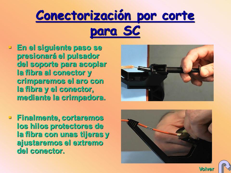 En el siguiente paso se presionará el pulsador del soporte para acoplar la fibra al conector y crimparemos el aro con la fibra y el conector, mediante la crimpadora.