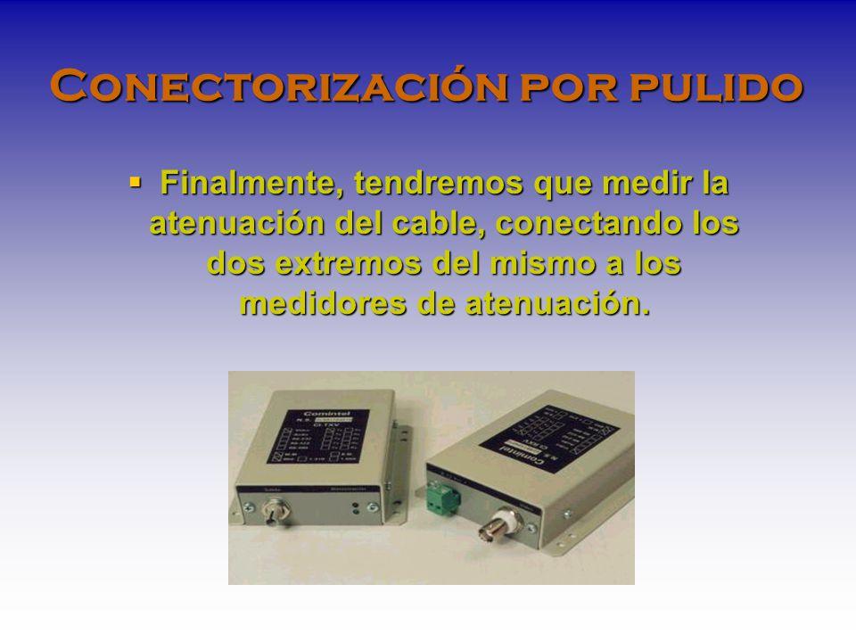 Conectorización por pulido Finalmente, tendremos que medir la atenuación del cable, conectando los dos extremos del mismo a los medidores de atenuación.