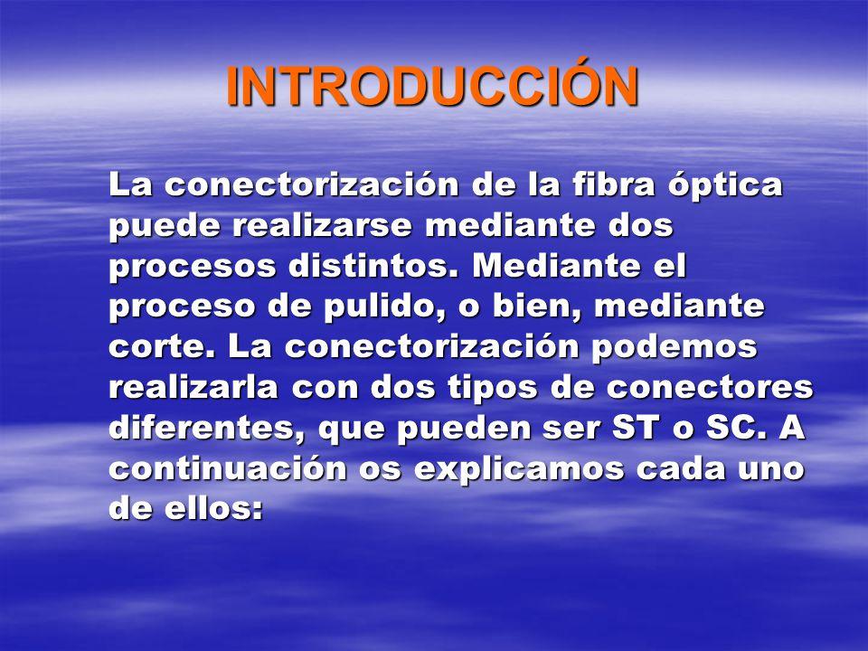 INTRODUCCIÓN La conectorización de la fibra óptica puede realizarse mediante dos procesos distintos.