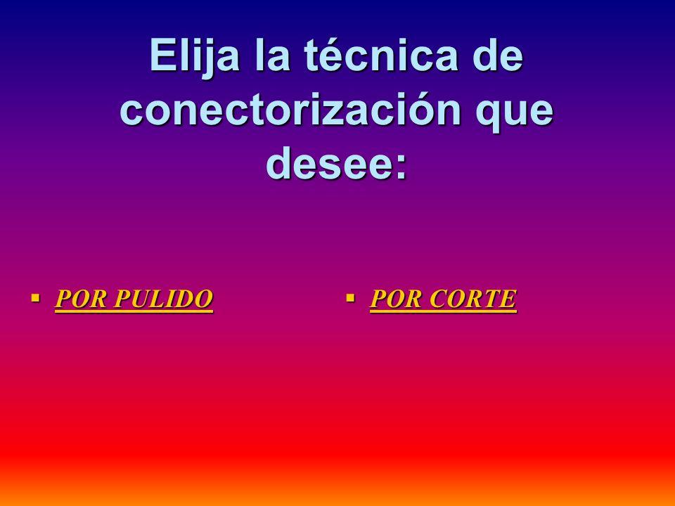 Elija la técnica de conectorización que desee: POR PULIDO POR PULIDO POR PULIDO POR PULIDO POR CORTE POR CORTE POR CORTE POR CORTE