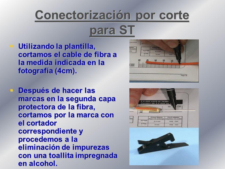 Utilizando la plantilla, cortamos el cable de fibra a la medida indicada en la fotografía (4cm).