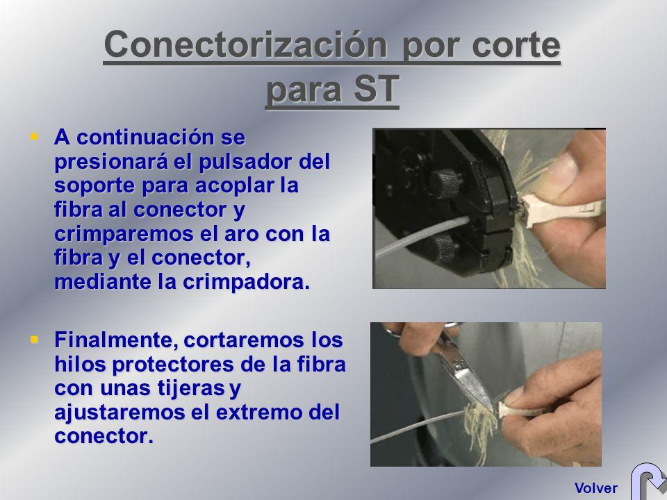 A continuación se presionará el pulsador del soporte para acoplar la fibra al conector y crimparemos el aro con la fibra y el conector, mediante la crimpadora.
