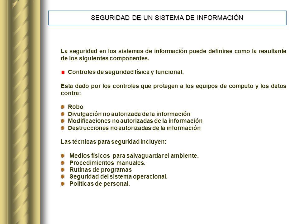 SEGURIDAD DE UN SISTEMA DE INFORMACIÓN La seguridad en los sistemas de información puede definirse como la resultante de los siguientes componentes.