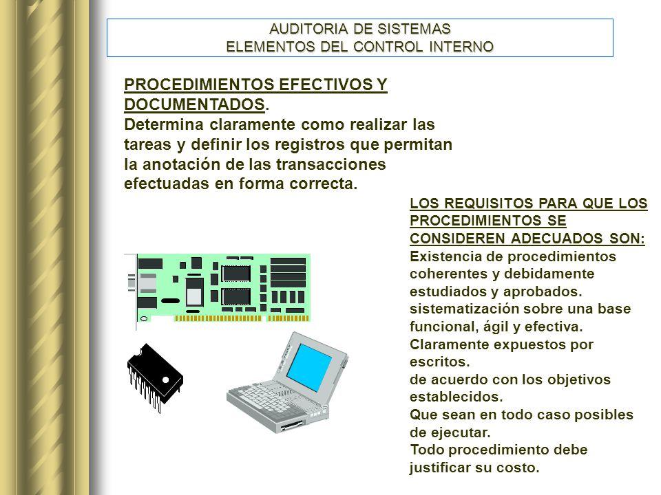 AUDITORIA DE SISTEMAS ELEMENTOS DEL CONTROL INTERNO PROCEDIMIENTOS EFECTIVOS Y DOCUMENTADOS.