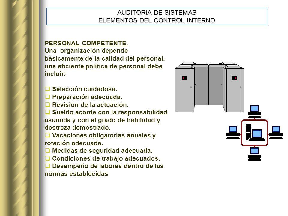 PERSONAL COMPETENTE.Una organización depende básicamente de la calidad del personal.