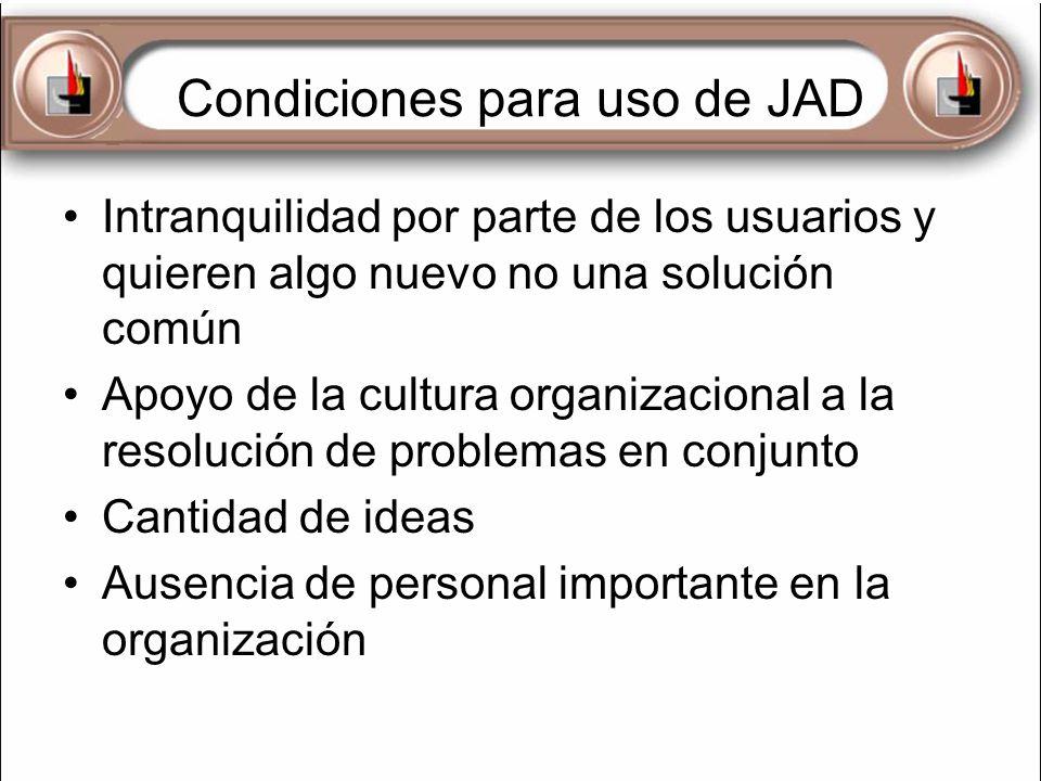 Condiciones para uso de JAD Intranquilidad por parte de los usuarios y quieren algo nuevo no una solución común Apoyo de la cultura organizacional a l
