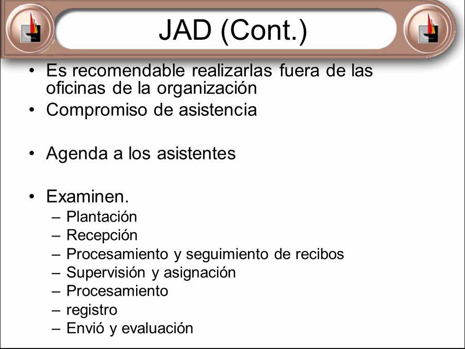 JAD (Cont.) Es recomendable realizarlas fuera de las oficinas de la organización Compromiso de asistencia Agenda a los asistentes Examinen. –Plantació
