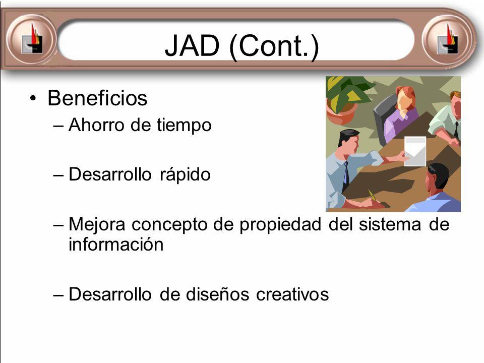 JAD (Cont.) Beneficios –Ahorro de tiempo –Desarrollo rápido –Mejora concepto de propiedad del sistema de información –Desarrollo de diseños creativos