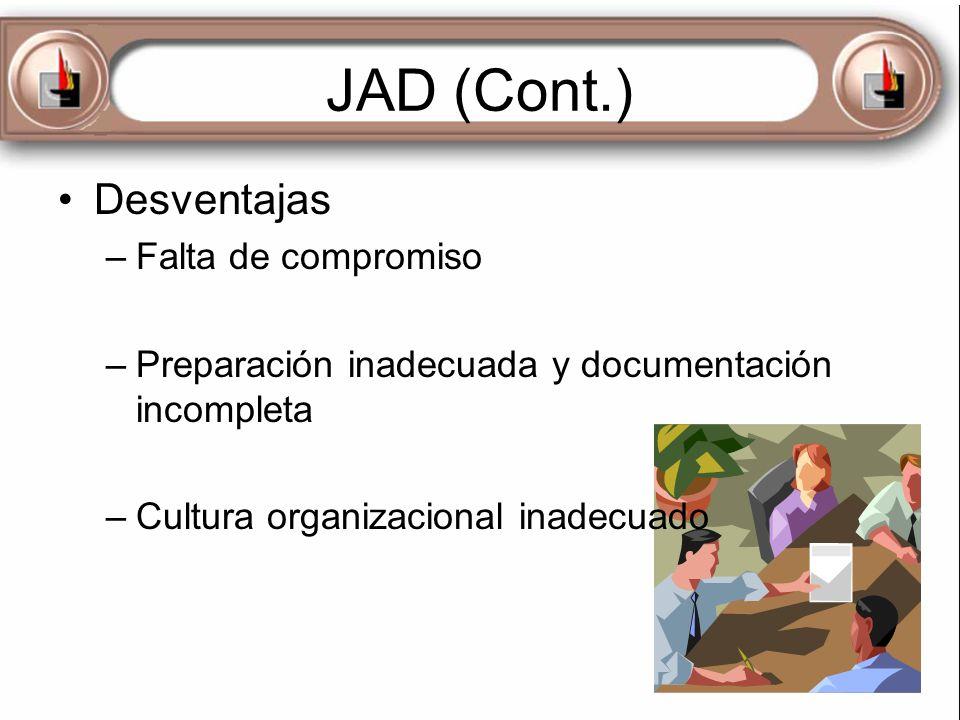 JAD (Cont.) Desventajas –Falta de compromiso –Preparación inadecuada y documentación incompleta –Cultura organizacional inadecuado