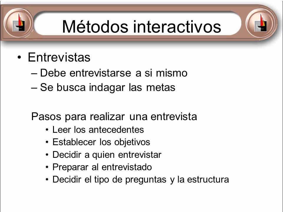 Métodos interactivos Entrevistas –Debe entrevistarse a si mismo –Se busca indagar las metas Pasos para realizar una entrevista Leer los antecedentes E
