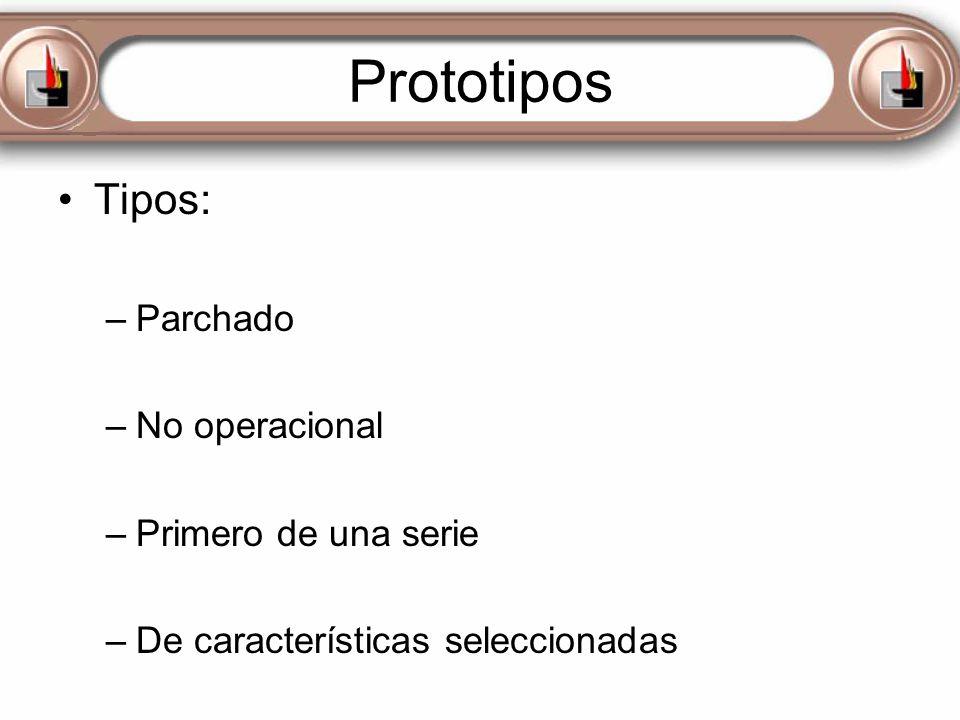 Prototipos Tipos: –Parchado –No operacional –Primero de una serie –De características seleccionadas