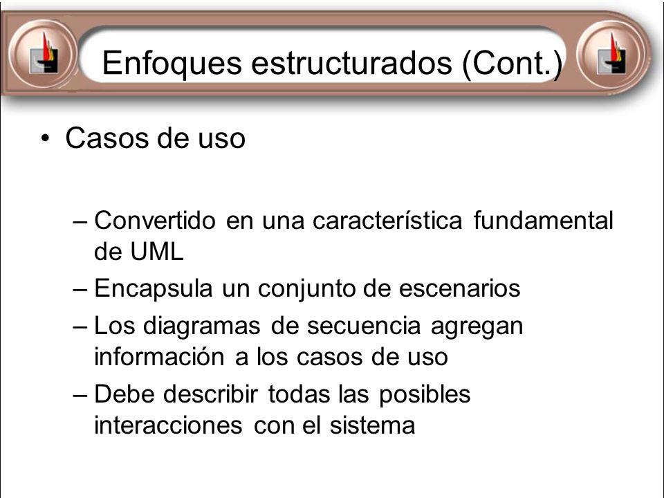 Enfoques estructurados (Cont.) Casos de uso –Convertido en una característica fundamental de UML –Encapsula un conjunto de escenarios –Los diagramas d