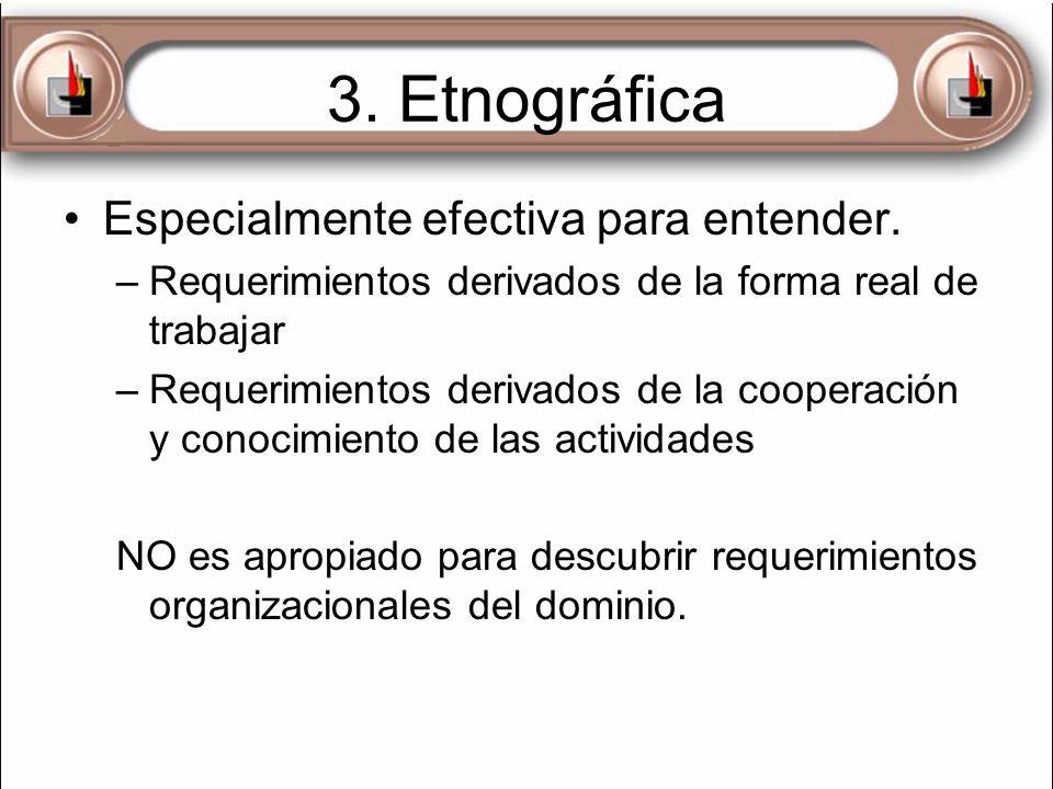 3. Etnográfica Especialmente efectiva para entender. –Requerimientos derivados de la forma real de trabajar –Requerimientos derivados de la cooperació