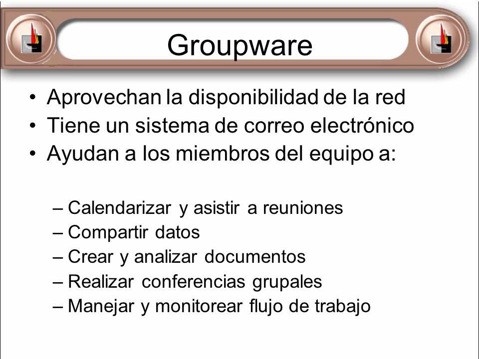 Groupware Aprovechan la disponibilidad de la red Tiene un sistema de correo electrónico Ayudan a los miembros del equipo a: –Calendarizar y asistir a