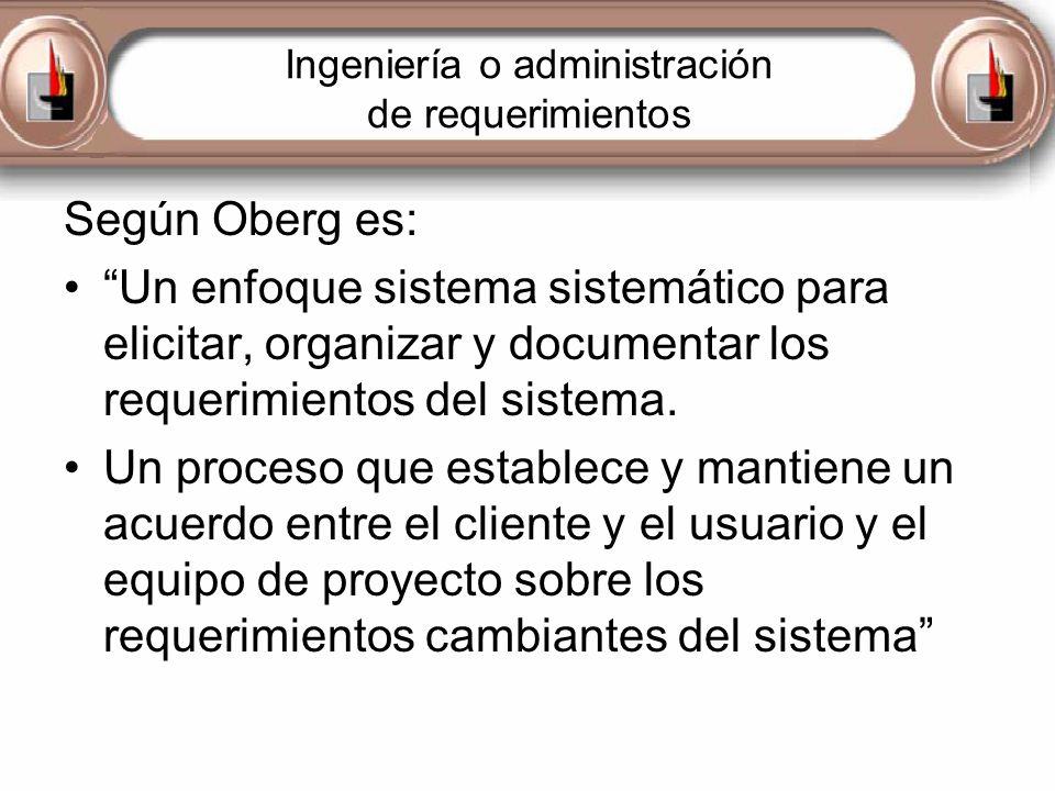 Ingeniería o administración de requerimientos Según Oberg es: Un enfoque sistema sistemático para elicitar, organizar y documentar los requerimientos