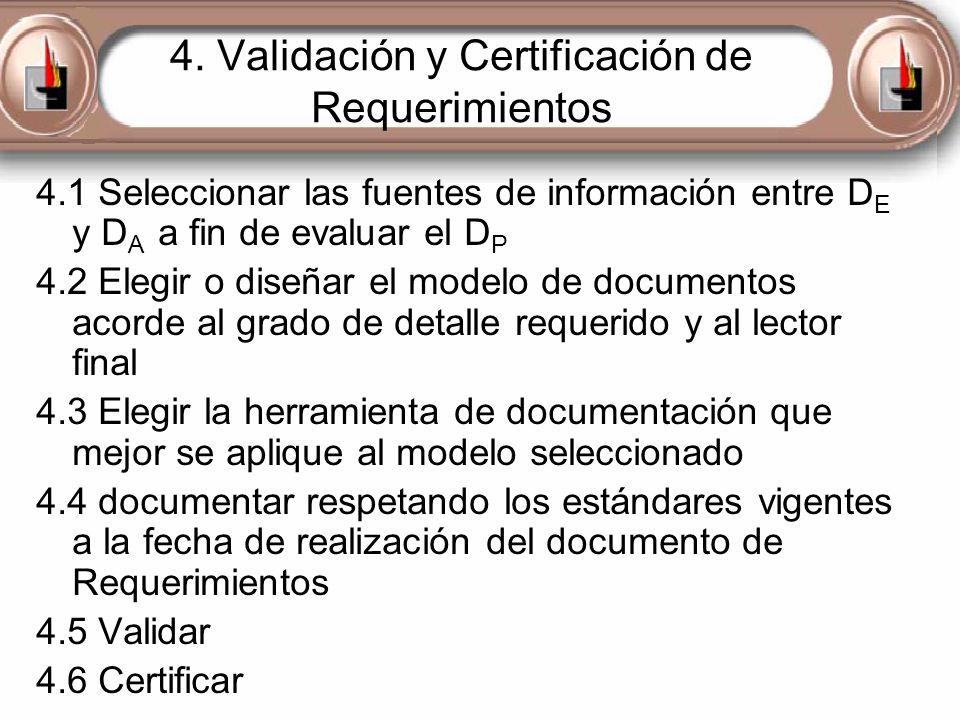 4. Validación y Certificación de Requerimientos 4.1 Seleccionar las fuentes de información entre D E y D A a fin de evaluar el D P 4.2 Elegir o diseña