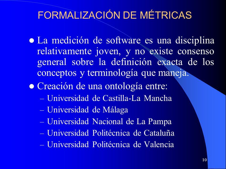 10 La medición de software es una disciplina relativamente joven, y no existe consenso general sobre la definición exacta de los conceptos y terminología que maneja.