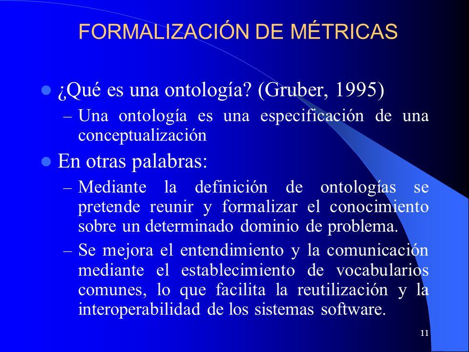 11 ¿Qué es una ontología? (Gruber, 1995) – Una ontología es una especificación de una conceptualización En otras palabras: – Mediante la definición de