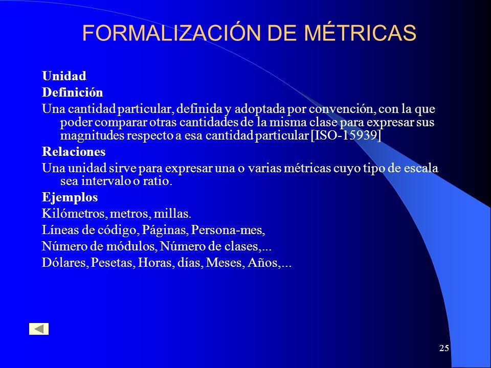 25 Unidad Definición Una cantidad particular, definida y adoptada por convención, con la que poder comparar otras cantidades de la misma clase para expresar sus magnitudes respecto a esa cantidad particular [ISO-15939] Relaciones Una unidad sirve para expresar una o varias métricas cuyo tipo de escala sea intervalo o ratio.
