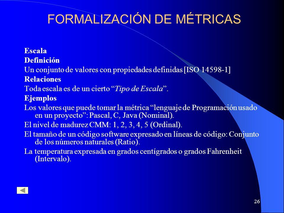 26 Escala Definición Un conjunto de valores con propiedades definidas [ISO 14598-1] Relaciones Toda escala es de un cierto Tipo de Escala. Ejemplos Lo