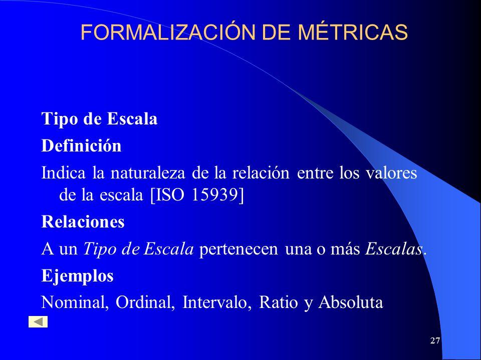 27 Tipo de Escala Definición Indica la naturaleza de la relación entre los valores de la escala [ISO 15939] Relaciones A un Tipo de Escala pertenecen una o más Escalas.