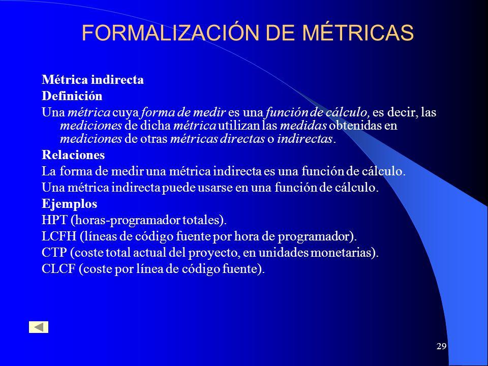 29 Métrica indirecta Definición Una métrica cuya forma de medir es una función de cálculo, es decir, las mediciones de dicha métrica utilizan las medidas obtenidas en mediciones de otras métricas directas o indirectas.