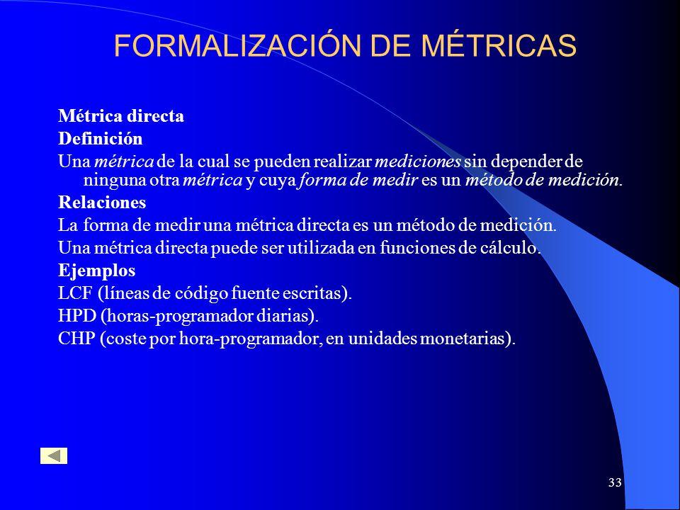 33 Métrica directa Definición Una métrica de la cual se pueden realizar mediciones sin depender de ninguna otra métrica y cuya forma de medir es un método de medición.