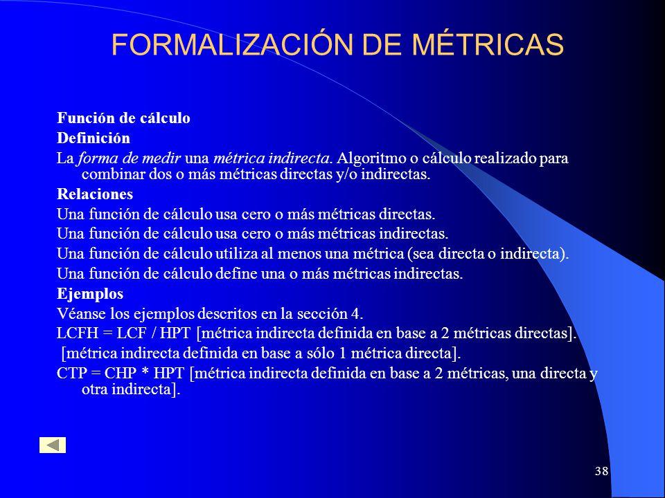38 Función de cálculo Definición La forma de medir una métrica indirecta. Algoritmo o cálculo realizado para combinar dos o más métricas directas y/o