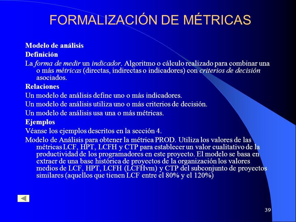 39 Modelo de análisis Definición La forma de medir un indicador. Algoritmo o cálculo realizado para combinar una o más métricas (directas, indirectas