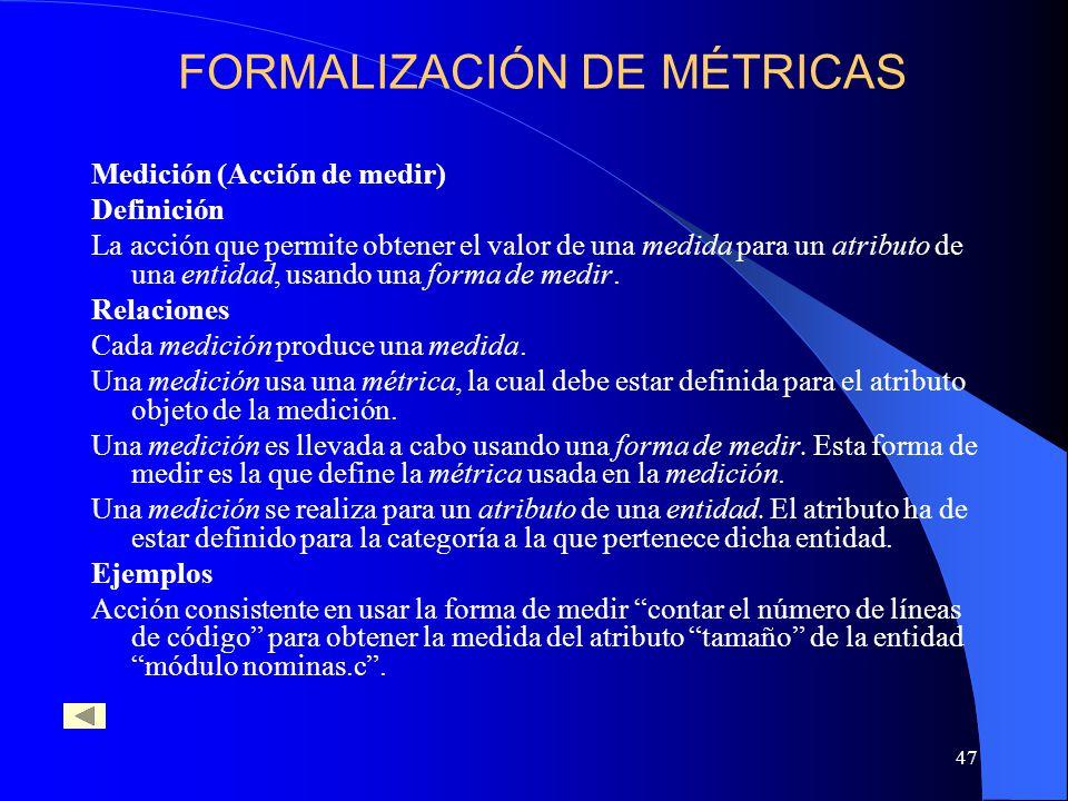 47 Medición (Acción de medir) Definición La acción que permite obtener el valor de una medida para un atributo de una entidad, usando una forma de medir.