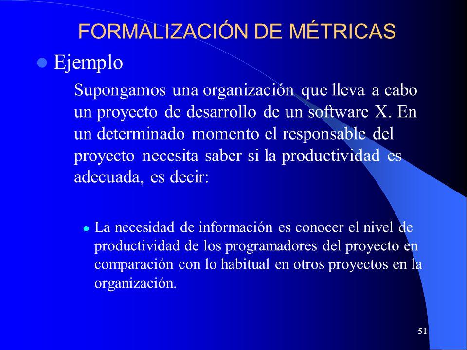 51 Ejemplo Supongamos una organización que lleva a cabo un proyecto de desarrollo de un software X.