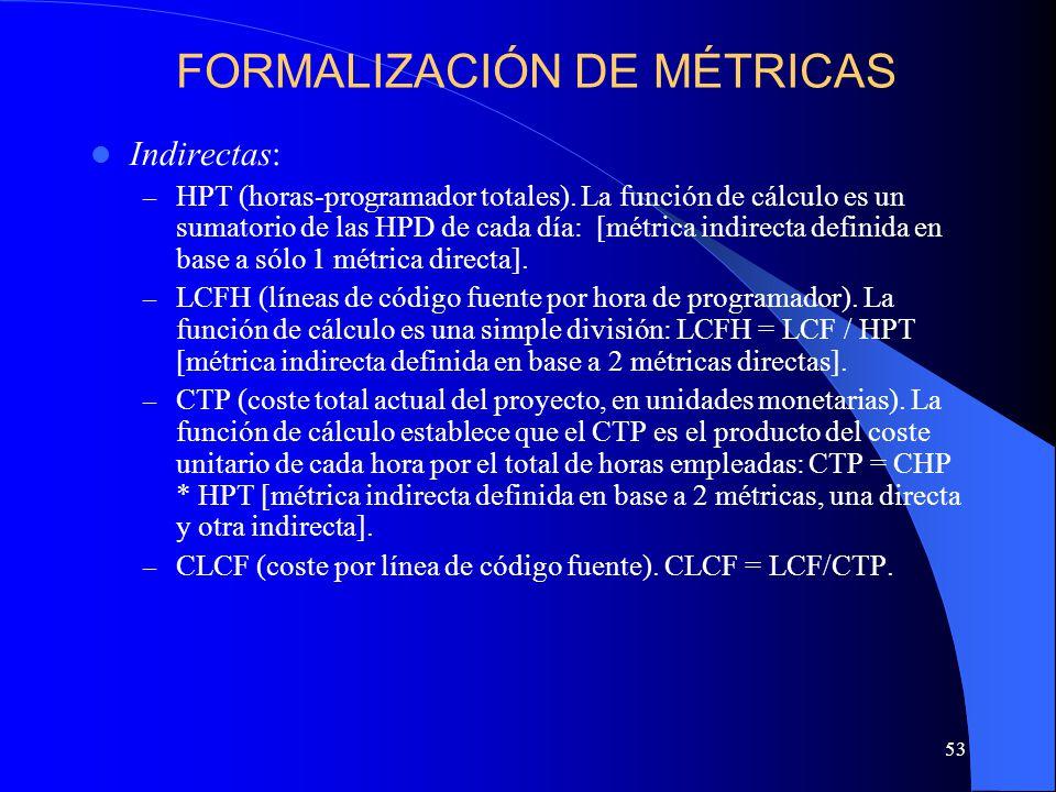 53 Indirectas: – HPT (horas-programador totales). La función de cálculo es un sumatorio de las HPD de cada día: [métrica indirecta definida en base a