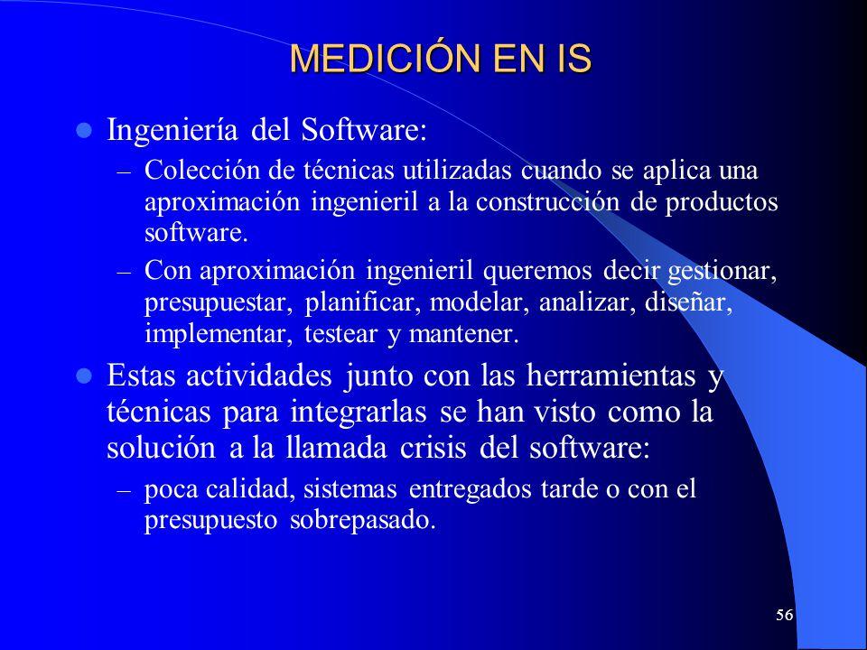 56 Ingeniería del Software: – Colección de técnicas utilizadas cuando se aplica una aproximación ingenieril a la construcción de productos software. –