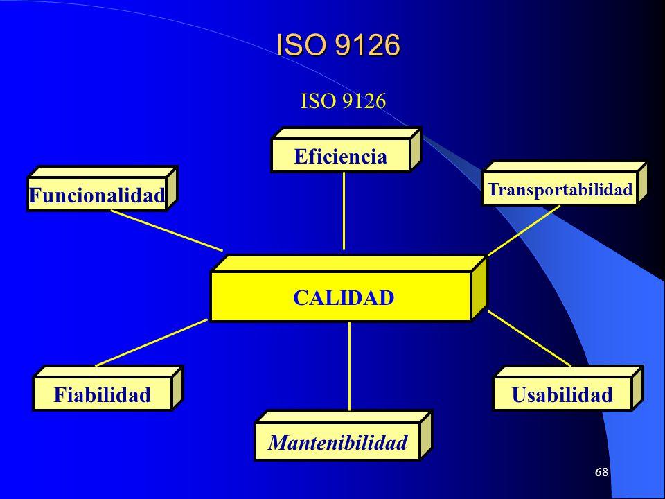 68 CALIDAD Usabilidad Eficiencia Fiabilidad Mantenibilidad Funcionalidad Transportabilidad ISO 9126