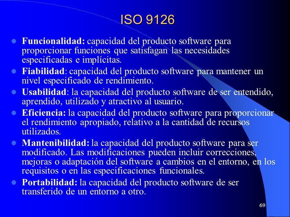 69 Funcionalidad: capacidad del producto software para proporcionar funciones que satisfagan las necesidades especificadas e implícitas. Fiabilidad: c